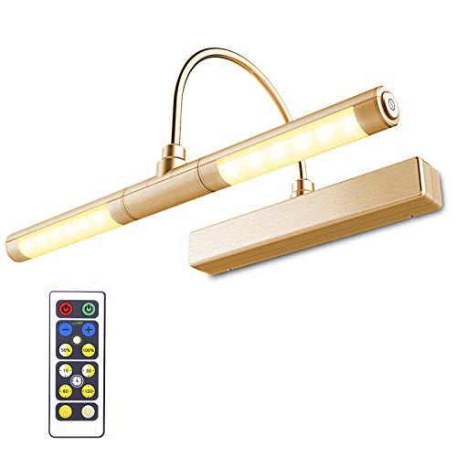 HONWELL Bilderleuchte LED Verstellbare LED Wandleuchte 3 Beleuchtungsmodi AA Batterie Betrieben mit Fernbedienungen 180 ° Schwenkarm, Dimmbare Anzeigelampe mit Timer für Spiegelanstrich