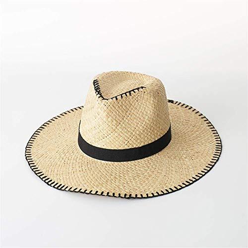 Toldo Primavera / verano Jazz Lafitte Sombrero Playa Viajes Protector solar Paja Jazz Sombrero de paja Sombrero de paja informal para hombre Sombrero para el sol al aire libre (color: Beige, Size: M)