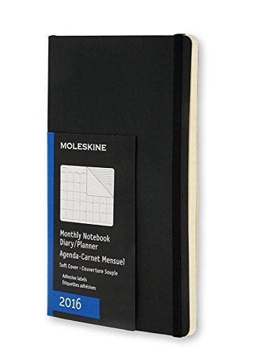 Moleskine 2016 Monthly Notebook, 12M, Pocket, Black, Soft Cover (3.5 x 5.5)