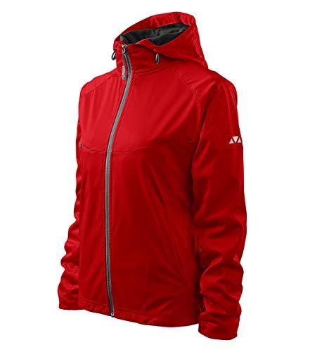 OwnDesigner by Adler Leichte Damen Outdoor Softshelljacke mit Kapuze - Winddicht Funktions Regen Wasserabweisend Atmungsaktiv Tailliert Jacke Model Cool (Rot, XL)