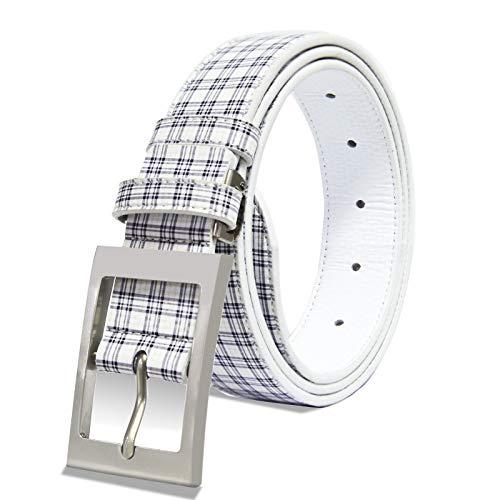 Galileoゴルフベルト メンズ PUレザー サイズ調整可能 ビジネス カジュアルベルト 紳士 ブラックとホワイト...