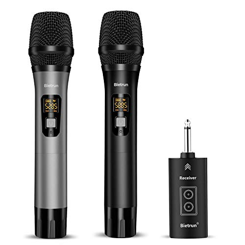 Wireless Microphone with Bluetooth, Professional UHF Dual Handheld Dynamic Metal Mic System Set with Rechargeable Receiver, 160 ft Range, 1/4''Output, for Karaoke Machine, Singing, Amp, PA Speaker