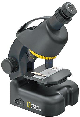 National Geographic 40-640x Mikroskop mit batteriebetriebener LED Durchlichtbeleuchtung, höhenverstellbarem Objekttisch, Smartphone Adapter und umfangreichem Zubehör, schwarz