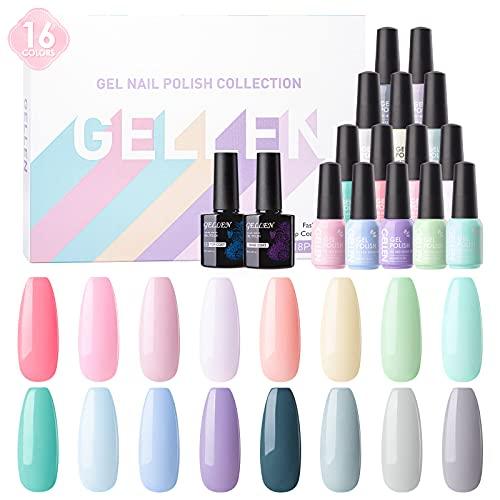 Gellen 16 Colors Gel Nail Polish Kit - With Top&Base Coats, Cotton Candy & Cool Grays Spring Summer Floral Tones, Popular Solid Vibrant Pastel Nail Art Gel Polish Colors Set
