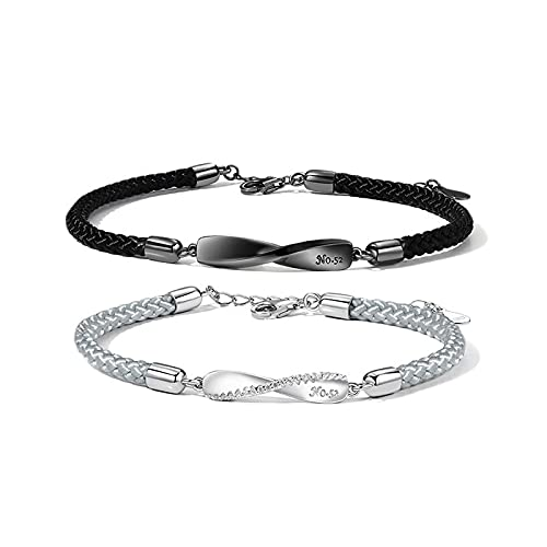 Pulsera de plata esterlina S925 para hombre y mujer con pulsera trenzada geométrica giratoria de regalo 男款(白金)