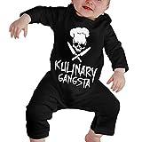 Johnson hop Skull Chef Cooking Skull Nouveau-né Gilr's Garçons Enfants Body bébé Manches Longues Toddler(2T,Noir)