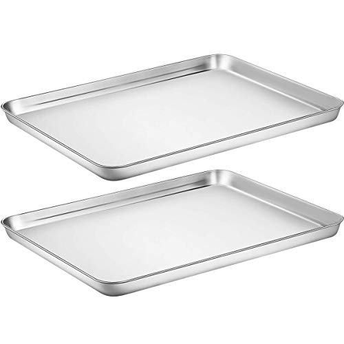 Baking Sheet Cookie Sheet Set of 2, Umite Chef Stainless Steel Baking Pans Tray Professional 16 x 12 x 1 inch, Non Toxic & Healthy, Mirror Finish & Rust Free, Easy Clean & Dishwasher Safe