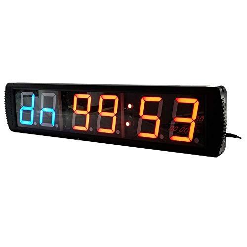 Shelf Temporizador de gimnasio LED Intervalo Temporizador Contar hacia abajo / arriba Reloj cronómetro con control remoto para el hogar Gimnasio Fitness Reloj despertador de la pared (Color: Negro, Ta