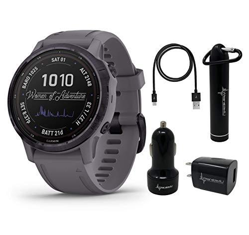 Garmin Fenix 6S Pro Solar Women of Adventure Premium Multisport GPS Smartwatch with Included Wearable4U Power Pack Bundle (Amethyst Steel with Shale Gray Band)