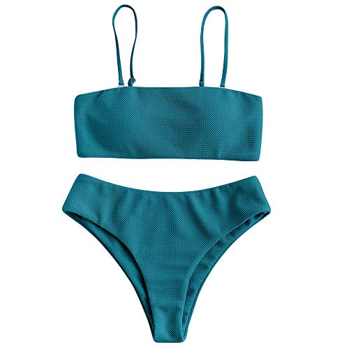 ZAFUL Damen Bikini Set, Texture Bandeau Bikini Set mit Gepolsterter High Cut Sexy Badeanzug (Pfauenblau-M)