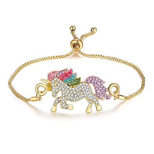 Anbon Einstellbar Armbänder mit Einhorn Anhänger Ketten, Damen-Armband, Kinder Mädchen Armschmuck Unicorn Armreifen (Gold)