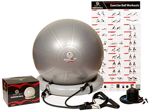 Scale It Up 65cm Exercise Ball Chair w/ 15LB Resistance Bands - Stability, Fitness, Pilates and Yoga Ball - Heavy Duty Anti-Slip/Burst Home Gym - Supports 600LBs, Balance, Posture, and Core Strength