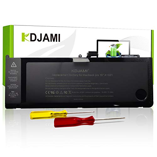 KDJAMI A1321 A1286 Laptop Battery for MacBook Pro 15 inch Mid 2009 Early/Late 2010[10.85V 77.5Wh],100% compatible with