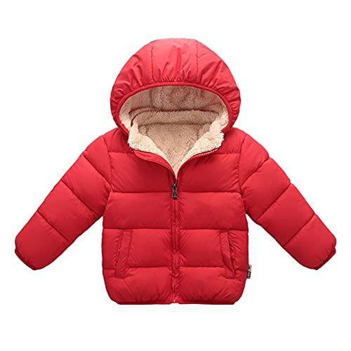 Gyratedream Kinderen Winterjas met capuchon Dikker Fleece Jassen Peuter Meisjes Jongens Gewatteerde Jas Outfit Kids Warme Kleding Bovenkleding, Rood, 3-4 Jaar