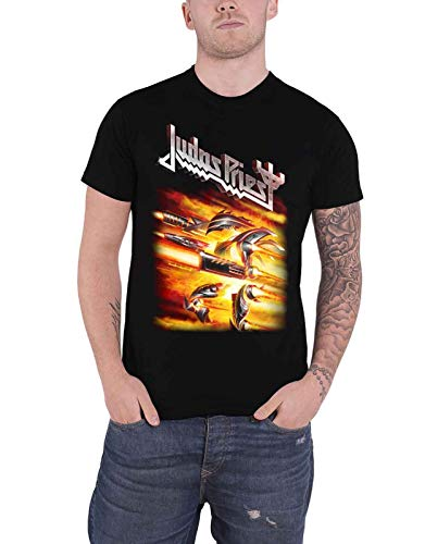 Rrt Judas Priest T Shirt Firepower Album Band Logo Mens Black,Camisetas y Tops(XX-Large)