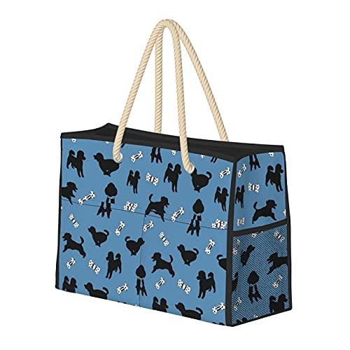 FJJLOVE Borsa Grande Beach Bag Felice barboncino Blu spalla per le donne - Borsa borsa con maniglie