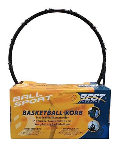 Canestro stabile struttura in metallo. In formato ufficiale con 45cm di diametro. Completo con Basket rete.