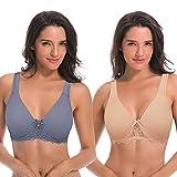 Curve Muse De las Mujeres Sin Forro Aros Cordón Sostén con Acolchado Hombro Correas - Paquete de 2-Desnudo, Azul polvoriento-120F