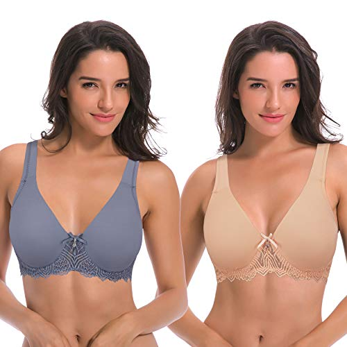Curve Muse Women's Unlined Underwire Lace Bra with Padded Shoulder Straps-2PK-NUDE,Dusty BLUE-44DDDD