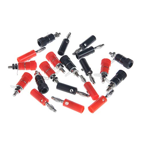 Meipai - 10 pares de conectores de enchufe de banana (4 mm), color negro y rojo