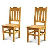 Elean 2 er Set Kuechenstuhl (HSL-02) Holzstuhl Esszimmerstuhl Stuhl mit Lehne Kiefer massiv vollholz zusammengebaut Verschiedene Farbvarianten Neu (Kiefer lasiert)