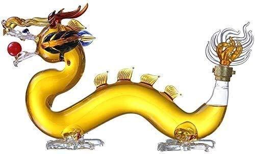 HUAQINEI Decantador de Whisky Decantador de Vino Decantador de Vino Aireador Dragon Design Decantador de Whisky Vidrio de borosilicato Alto, 1500 ml (Tamaño: 750 ml)