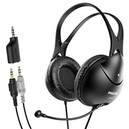 Philips Computer Headset mit Mikrofon für Laptop, Zoom, Skype - 3,5 mm Leichte Computer Kopfhörer mit Echo Cancelling Mikrofon für Home Office, Call Center, Skype, Zoom