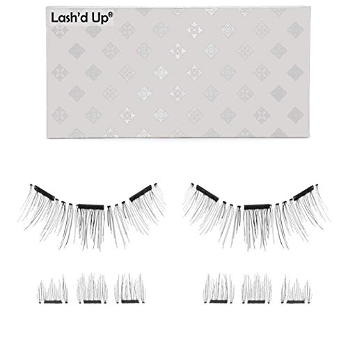 Lash'd Up by Amazon Magnetic Eyelashes Without Eyeliner 3 Magnets (Can also be worn as Dual Magnets) Full Eye Snap-on Set Soft Faux Silk Vegan (Very Natural)