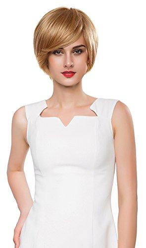 La Vgue Perruque Femme Vrai Cheveux Blonde Perruque Courte Droite Cheveux Humains Naturel Modèle4