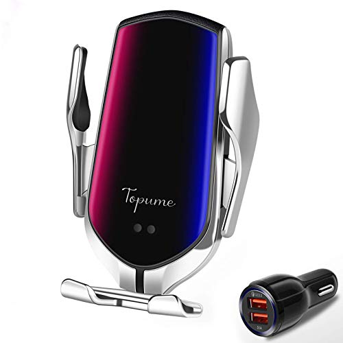 Wireless Car Charger Touch Sensing Automatic Retractable Clip Fast Charging Compatible for iPhone 11/11ProMax/Xs Max/XR/X/8/8Plus, Samsung S10/S9/S8/Note8,LG,Huawei,Google Pixel