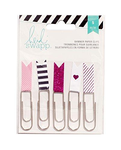 American Crafts Heidi Swapp 10268595Schablone zum Papier Flagge Clips 2,5Pink, Acryl, Mehrfarbig