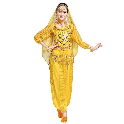 Xinvivion Damen Professionel Bauchtanz Kostüm Bollywood indisch Araber Tanzen Performance Outfits Anzug (Gelb,Fit 45-70 KG)