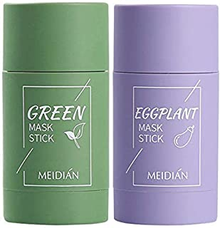 2PCS Grüner Tee Purifying Clay Stick Mask Ölkontrolle Anti-Akne-Aubergine Fest Fein, Befeuchtet und kontrolliert das Öl, Akne-Clearing, MitesserentfernerGrüner Tee  Aubergine