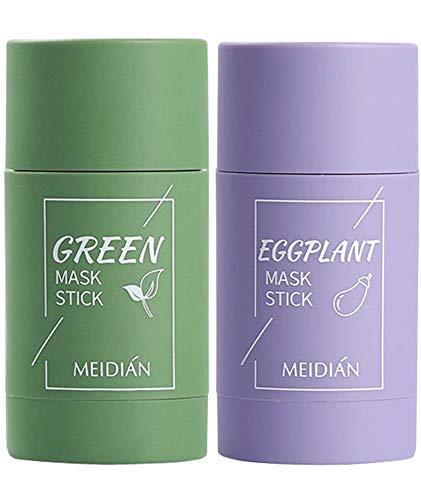 2PCS Grüner Tee Purifying Clay Stick Mask Ölkontrolle Anti-Akne-Aubergine Fest Fein, Befeuchtet und kontrolliert das Öl, Akne-Clearing, Mitesserentferner(Grüner Tee + Aubergine)