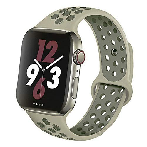 CGGA Correa For IWATCH Band 44mm 42mm 38mm 40mm IWATCH Banda Pulsera De Silicona Sport Series Accesorios For De IWatch 6 5 4 3 SE (Band Color : Fog Vintage Lichen, Band Width : 42mm 44mm L)