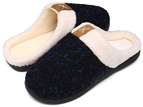 Männer Zuhause Hausschuhe Frauen Warm Indoor rutschfest Gummisohle Kuschelige Pantoffeln,Blau,40/41