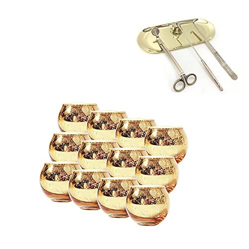 Pectt Paquete de 12 portavelas votivos redondos de oro con 4 en 1 juego de accesorios de vela, soporte de vela de cristal de mercurio moteado, kit de cuidado de velas regalo para