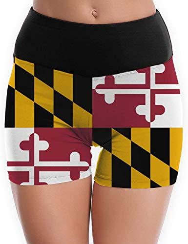baowen Pantalones Cortos de Yoga para Mujer Flag of Maryland Tummy Control Workout Running Shorts Pantalones
