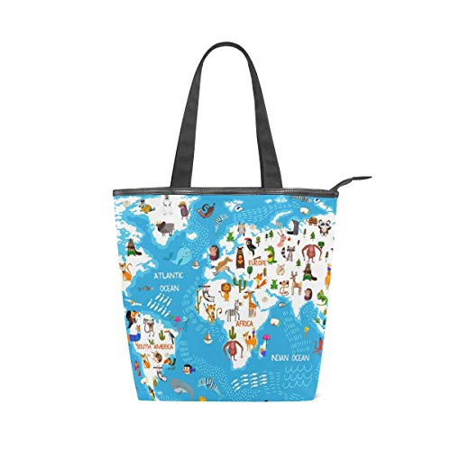 Ahomy - Bolsa de lona para mujer, diseño de mapamundi