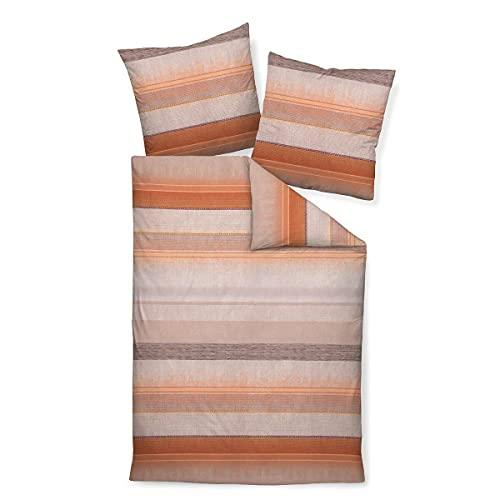Janine Design Davos 65106 - Juego de cama (funda nórdica de 140 x 200 cm y funda de almohada de 70 x 90 cm), color naranja coral y rosa