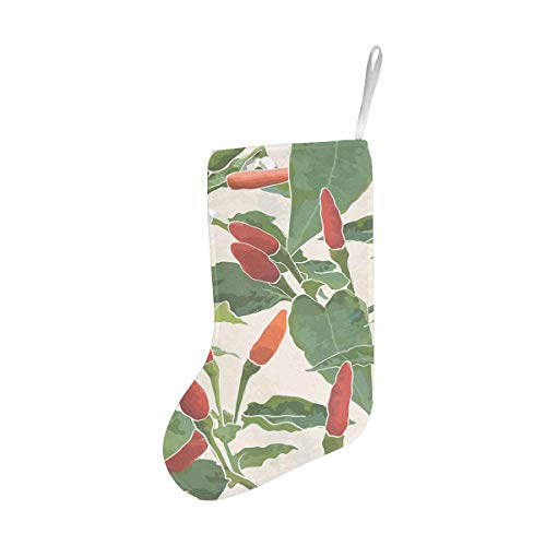 InterestPrint Christmas Stocking Ornament for Family Xmas Party Thai Hot Chili Pepper