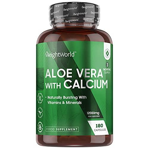 Aloe Vera Kapseln mit Kalzium - 12000mg Aloe Vera Pflanze Extrakt und 150mg Kalzium je Tagesdosis - 180 Tabletten - Geprüfte Zutaten - Aloe Barbadensis - Calcium für Verdauung & Stoffwechsel