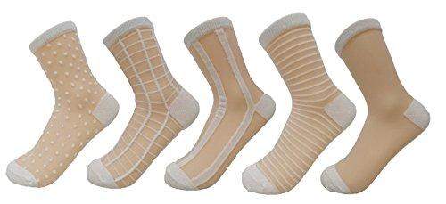 PreSox Frauen schiere transparente Spitze Stickerei Panel Crystal Bling-Bling Socken 5 Pack (5W)
