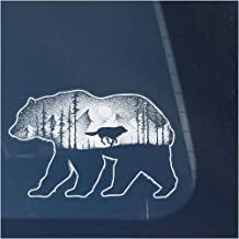 Bear and Wolf in Mountains with Trees Clear Vinyl Decal Sticker for Window, Moon and Stars Sign Art Print Design