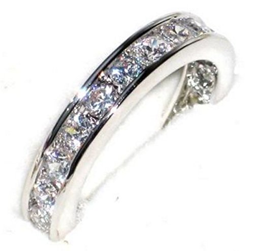 FREE ENGRAVING (ONE IN A MILLION) Ah! Jewellery Ladies Sterling Silver Channel Set Ring. Sparkling And Dazzling Handset Finest Lab Diamonds. Full Eternity Band, 925 STAMPED.