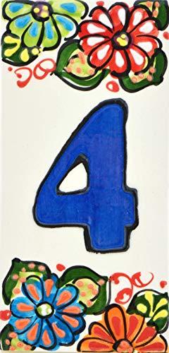 Hausnummer. Schilder mit Zahlen und Nummern auf Keramikkachel. Handgemalte Kordeltechnik fuer Schilder mit Namen, Adressen und Wegweisern. Design JARDIN 14,5 cm x 7 cm (Nummer VIER