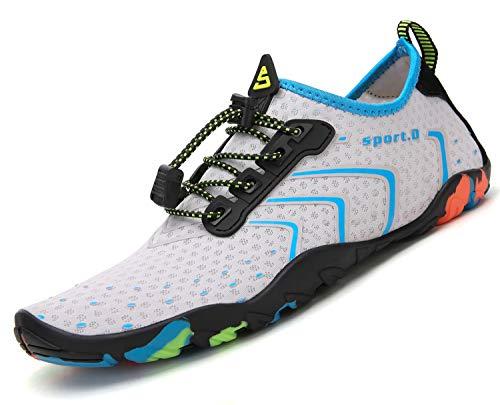 Pastaza Escarpines de Buceo Mujer Zapatos de Agua Surf Piscina Playa Yoga Deportes Acuáticos,Blanco/Azul,36 EU