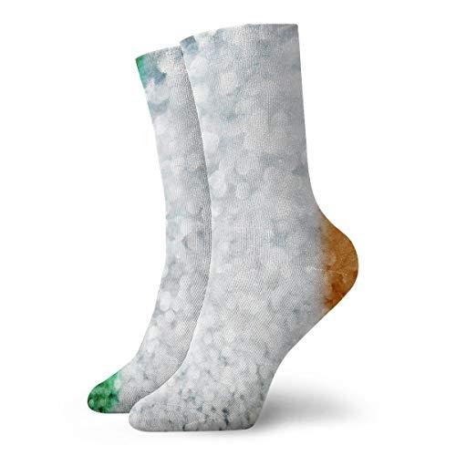 Irische Flagge Blinkende Socken Herren Damen Crew Socken Strumpf Wandern Leichte Cool Komfort Socken Geeignet für alle Aktivitäten bei jedem Wetter
