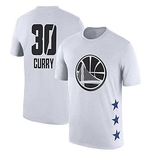 Jerseys De Baloncesto De Los Hombres, Golden State Warriors # 30 Stephen Curry NBA Basketball Jerseys Sueltas Camisetas Casuales Chalecos Tops Transpirables,Blanco,XL(175~180CM)