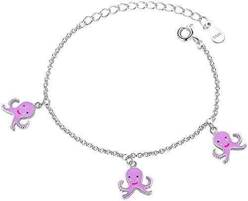 NC83 Pulsera de plata, pulsera de flores de margaritas para mujer, cadena de eslabones ajustables y pulsera de cristal, joyería de la amistad